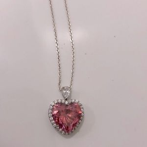 """925 & CZ stamped <3 on sterling silver 30"""" chain"""